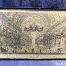 Arte: VISTA OPTICA GRABADO S XVIII GRAN TEMPLO SERPIENTE CHINA COLOREADO PERSONAJES PERSPECTIVA 33X51CMS. Lote 235132220