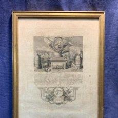 Arte: GRABADO FRANCIA MILITAR FRANCES DUQUESNE S XVII BOMBARDEO GENOVA ACTOS TRIUNFO 45X32CMS. Lote 235139940