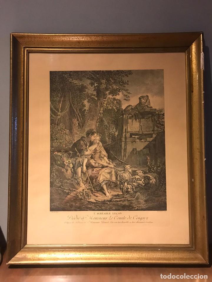 "GRABADO DE GAILLARD L´AGREABLE LEÇON ""LA AGRADABLE LECCIÓN"" , CUADRO DE FRANÇOIS BOUCHER 1748 (Arte - Grabados - Contemporáneos siglo XX)"