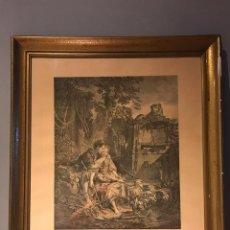 """Arte: GRABADO DE GAILLARD L´AGREABLE LEÇON """"LA AGRADABLE LECCIÓN"""" , CUADRO DE FRANÇOIS BOUCHER 1748. Lote 235202120"""