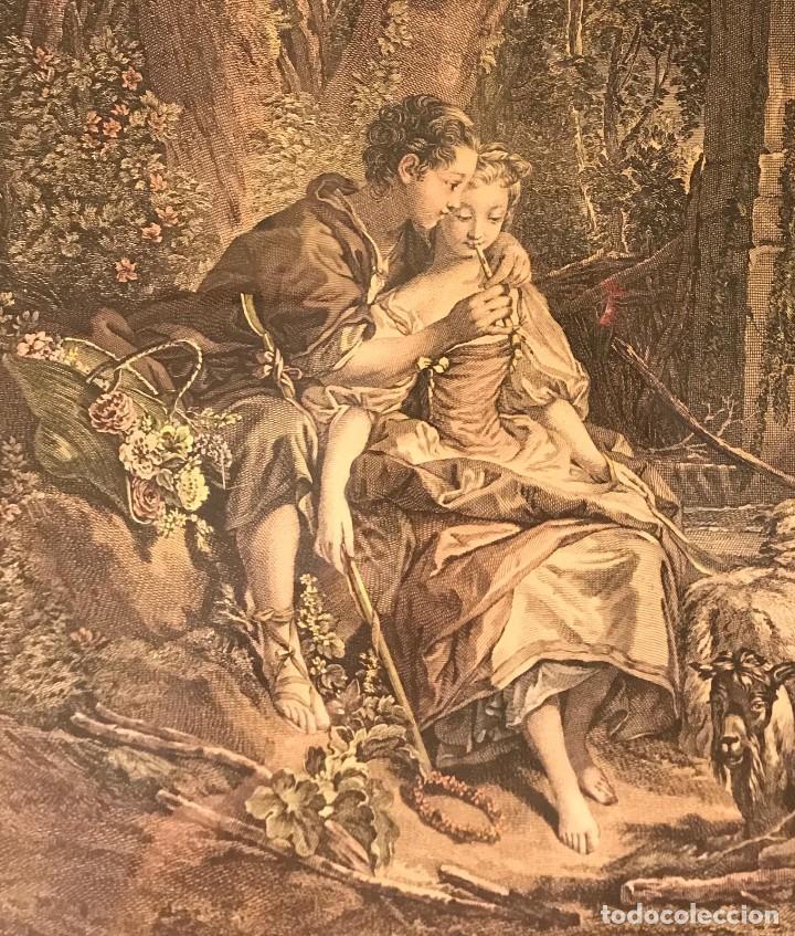 """Arte: GRABADO DE GAILLARD L´AGREABLE LEÇON """"La agradable lección"""" , CUADRO DE FRANÇOIS BOUCHER 1748 - Foto 2 - 235202120"""