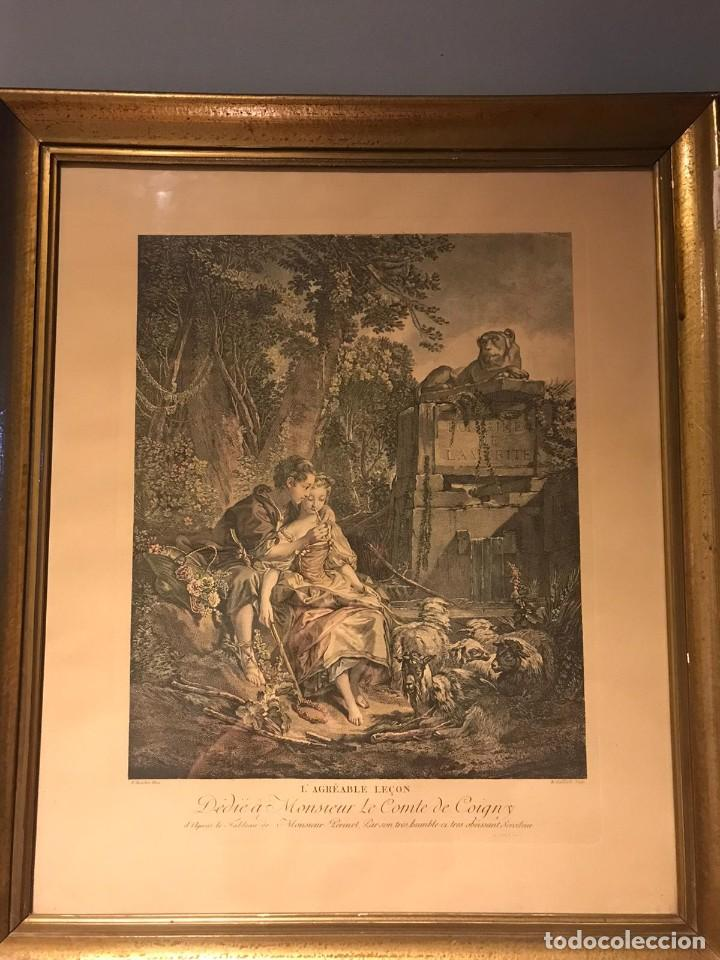 """Arte: GRABADO DE GAILLARD L´AGREABLE LEÇON """"La agradable lección"""" , CUADRO DE FRANÇOIS BOUCHER 1748 - Foto 3 - 235202120"""