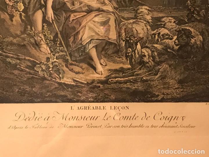 """Arte: GRABADO DE GAILLARD L´AGREABLE LEÇON """"La agradable lección"""" , CUADRO DE FRANÇOIS BOUCHER 1748 - Foto 6 - 235202120"""