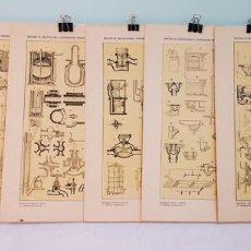 Arte: 7 GRABADOS ORIGINALES,TRATADO DE ARQUITECTURA Y CONSTRUCCIONES MODERNAS,DOMENÉC SUGRAÑÉS, 1916. Lote 235265745