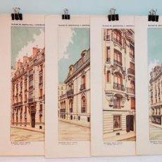 Arte: 7 GRABADOS ORIGINALES, TRATADO DE ARQUITECTURA Y CONSTRUCCIONES MODERNAS DE DOMENÉC SUGRAÑÉS, 1916.. Lote 235385260