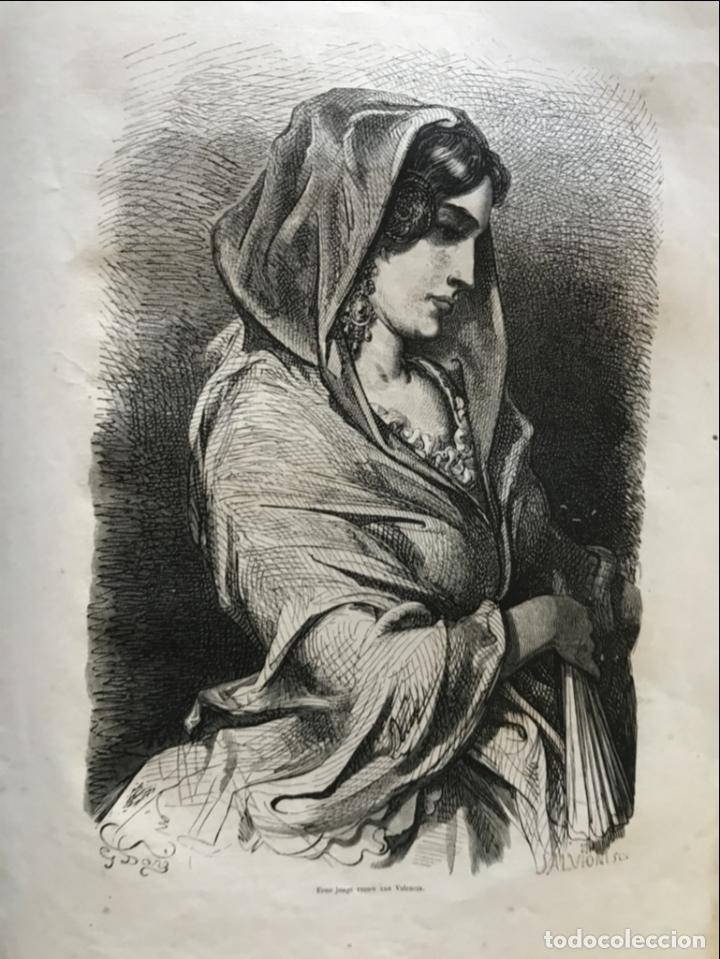 Arte: Labradores y mujer de Valencia (España), hacia 1870. Gustave Doré/Salvioni - Foto 3 - 235655125
