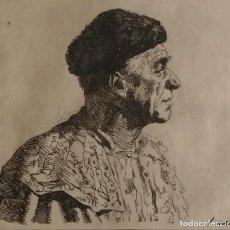 Arte: MIR TRINXET. GRABADO AL AGUAFUERTE, FIRMADO A MANO. RETRATO DE PABLO PICASSO. Lote 235854625