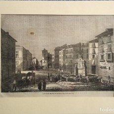 Arte: CALLE MAYOR DE MADRID. GRABADO ORIGINAL S. XIX. CON PASPARTÚ Y ACETATO PROTECTOR. Lote 235897765