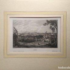 Arte: MADRID. VISTAS DESDE EL CAMPO CERCANO. GRABADO ORIGINAL S. XIX. CON PASPARTÚ Y ACETATO PROTECTOR. Lote 235901470