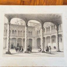 Arte: CLAUSTRO DEL COLEGIO DE SAN GREGORIO VALLADOLID. VILLA-AMILL 1842. ESPAÑA ARTÍSTICA Y MONUMENTAL.. Lote 235975615