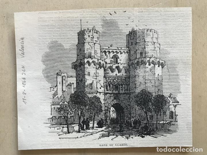 Arte: Torres de los Serranos en Valencia (España), 1866. Anónimo - Foto 2 - 235997735