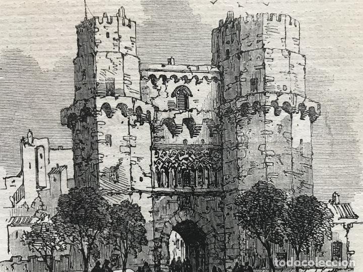Arte: Torres de los Serranos en Valencia (España), 1866. Anónimo - Foto 3 - 235997735