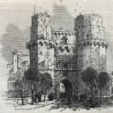 Arte: TORRES DE LOS SERRANOS EN VALENCIA (ESPAÑA), 1866. ANÓNIMO. Lote 235997735