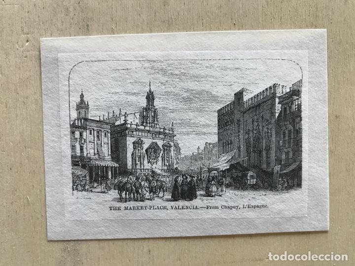 Arte: Plaza y mercado en Valencia (España), hacia 1850. Chapuy - Foto 2 - 236010565