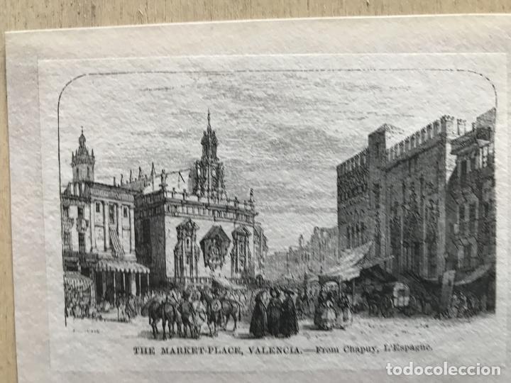 Arte: Plaza y mercado en Valencia (España), hacia 1850. Chapuy - Foto 3 - 236010565