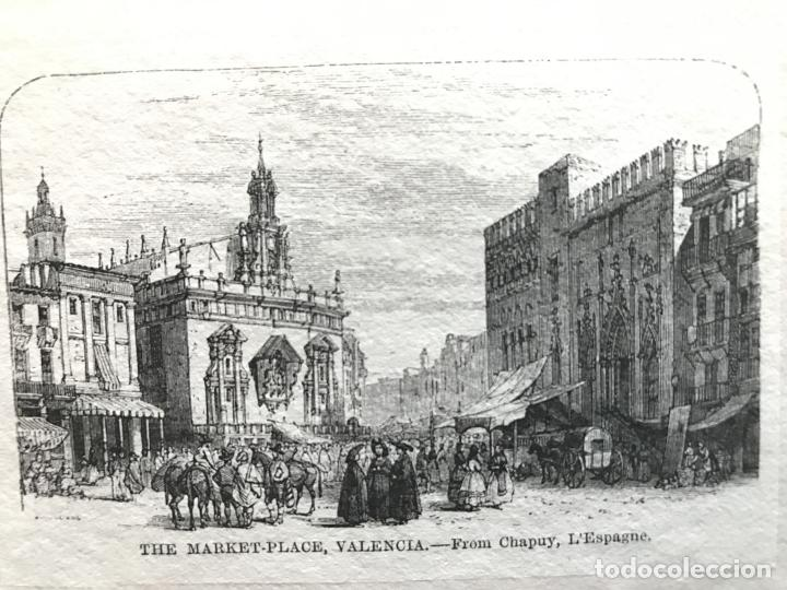 PLAZA Y MERCADO EN VALENCIA (ESPAÑA), HACIA 1850. CHAPUY (Arte - Grabados - Modernos siglo XIX)