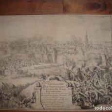 Arte: EXCEPCIONAL GRABADO ASEDIO VALENCIENNES,TERCIOS, COLONIA, ORIGINAL,LEDESMA/HOOGHE, 1682, EN ESPAÑOL. Lote 236034620