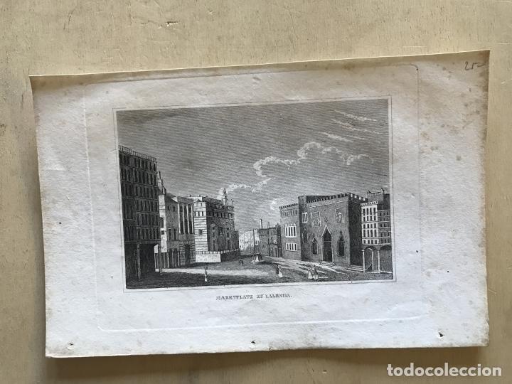 Arte: Vista panorámica de la plaza del mercado de Valencia (España), hacia 1850. Anónimo alemán - Foto 3 - 236121095