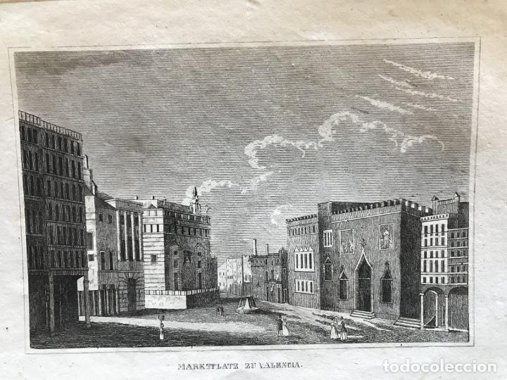 VISTA PANORÁMICA DE LA PLAZA DEL MERCADO DE VALENCIA (ESPAÑA), HACIA 1850. ANÓNIMO ALEMÁN (Arte - Grabados - Modernos siglo XIX)