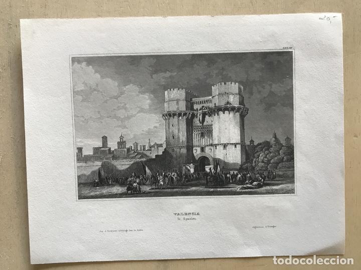 Arte: Puerta medieval de los Serranos en la ciudad de Valencia (España), hacia 1850. Inst. Hildburghausen - Foto 2 - 236124740