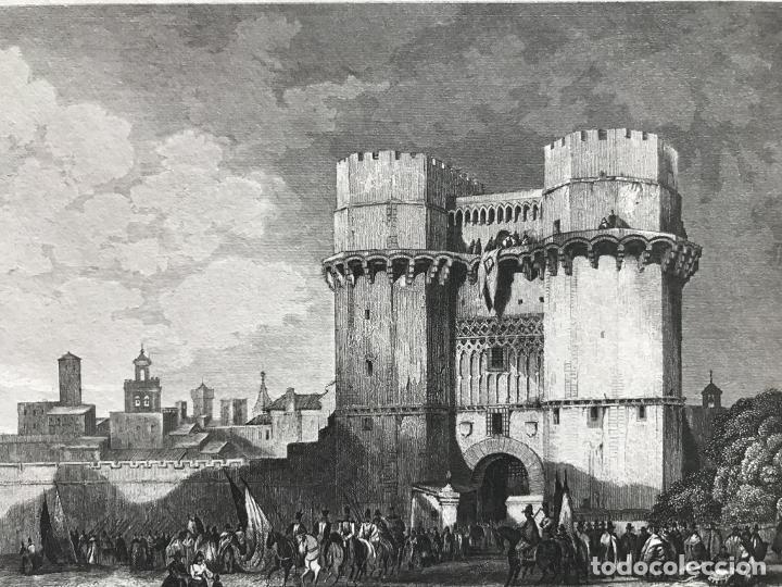 Arte: Puerta medieval de los Serranos en la ciudad de Valencia (España), hacia 1850. Inst. Hildburghausen - Foto 4 - 236124740