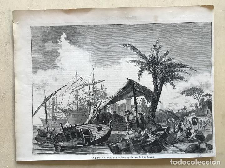 Arte: Vista del puerto de Valencia (España): barcos y gente del mar, 1883. Berlepfch - Foto 2 - 236135050