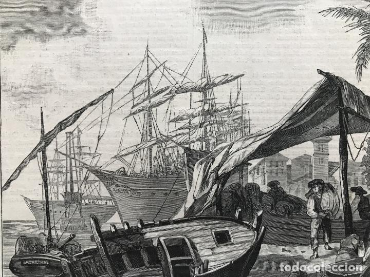 Arte: Vista del puerto de Valencia (España): barcos y gente del mar, 1883. Berlepfch - Foto 3 - 236135050