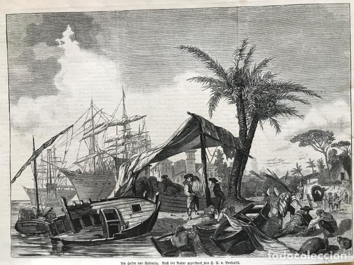 VISTA DEL PUERTO DE VALENCIA (ESPAÑA): BARCOS Y GENTE DEL MAR, 1883. BERLEPFCH (Arte - Grabados - Modernos siglo XIX)