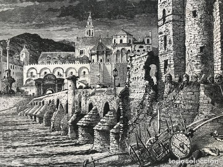 Arte: Puente romano y mezquita de Córdoba (España), hacia 1885. Whymper - Foto 3 - 236140760