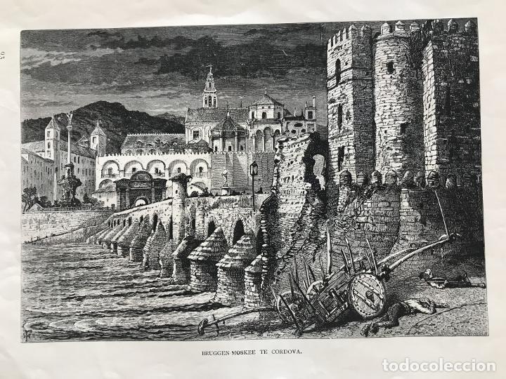 PUENTE ROMANO Y MEZQUITA DE CÓRDOBA (ESPAÑA), HACIA 1885. WHYMPER (Arte - Grabados - Modernos siglo XIX)