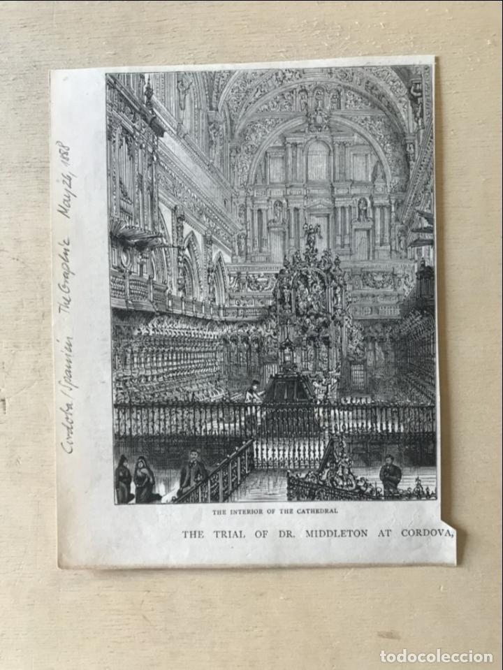 Arte: Vista del interior de la catedral de Córdoba (España), 1888. Anónimo - Foto 2 - 236148545