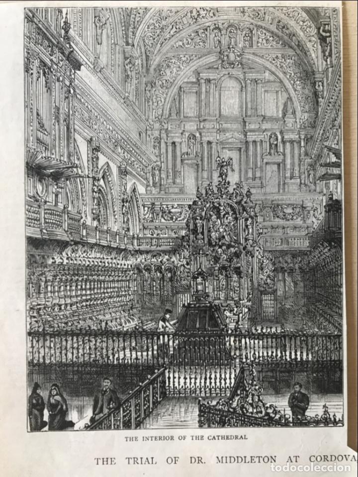 VISTA DEL INTERIOR DE LA CATEDRAL DE CÓRDOBA (ESPAÑA), 1888. ANÓNIMO (Arte - Grabados - Modernos siglo XIX)