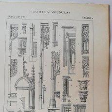 Arte: ANTIGUO GRABADO: ARQUITECTURA :PERFILES Y MOLDURAS SIGLO XIV (GÓTICO) LÁMINA 4 ED. BAJOT. Lote 236256675