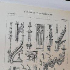 Arte: ANTIGUO GRABADO: ARQUITECTURA :PERFILES Y MOLDURAS SIGLO XIV -XV (GÓTICO) LÁMINA 6 ED. BAJOT. Lote 236258110