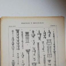 Arte: ANTIGUO GRABADO: ARQUITECTURA :PERFILES Y MOLDURAS SIGLO XVII (ENRIQUE IV - LUIS XIII ) LÁMINA 15. Lote 236260295