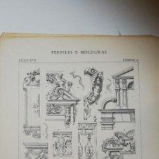 Arte: ANTIGUO GRABADO: ARQUITECTURA :PERFILES Y MOLDURAS SIGLO XVII ( LUIS XIII ) LÁMINA 21. Lote 236261260