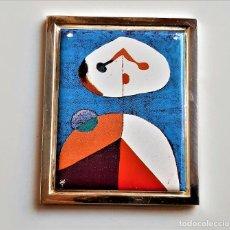 Arte: 1938 JOAN MIRO - PLACA DE PLATA CHAPADA CON PINTURA METAL A COLOR RETRATO II -7X6.CM -95.50.GR. Lote 236411435