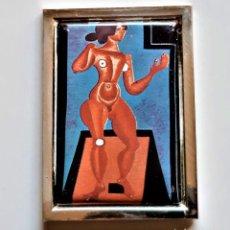 Arte: 1921 JOAN MIRO - PLACA DE PLATA CHAPADA CON PINTURA METAL A COLOR DESNUDO DE PIE -7X6.CM -94.GR. Lote 237176565