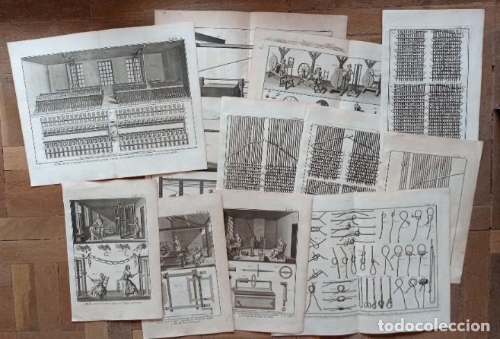 GRABADOS ANTIGUOS INDUSTRIA DE SEDA AÑO 1794 COLECCIÓN COMPLETA DE 12 DISTINTOS CON CERTIF. AUTENT. (Arte - Grabados - Antiguos hasta el siglo XVIII)
