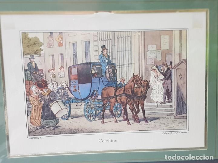 GRABADO ANTIGUO EN MARCO DE CARTON CELEFTINE (Arte - Grabados - Contemporáneos siglo XX)