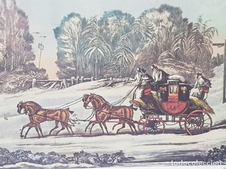 Arte: Grabado antiguo en marco de carton The Mail Coach un a Storm Snow - Foto 2 - 238322900