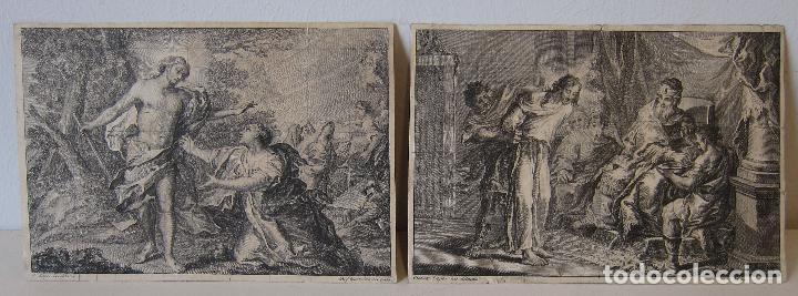 MIGUEL GAMBORINO, 2 ESTAMPAS DEL VIA CRUCIS, SEGÚN DIBUJOS DE VICENTE LÓPEZ. HACIA 1800. (Arte - Grabados - Antiguos hasta el siglo XVIII)