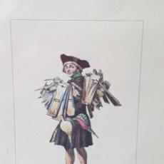 Arte: GRABADO ANTIGUO COLOREADO A MANO LA MORT AUX RATS. Lote 238507440