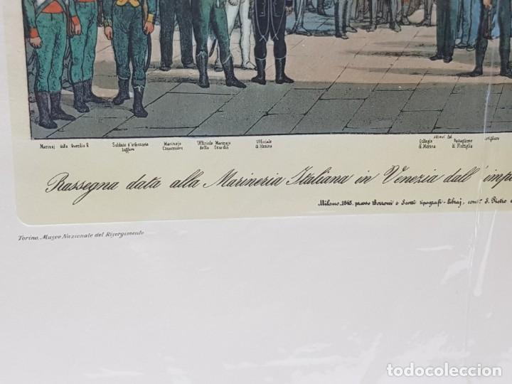 Arte: Espectacular Grabado en plancha de Cobre Coloreado a Mano Tropas de Napoleon en Venecia - Foto 3 - 238825235