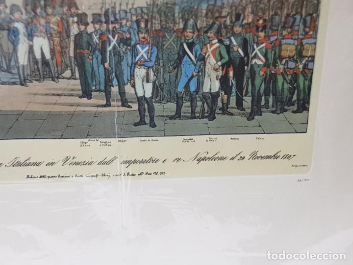 Arte: Espectacular Grabado en plancha de Cobre Coloreado a Mano Tropas de Napoleon en Venecia - Foto 4 - 238825235