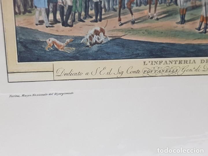 Arte: Espectacular Grabado en plancha de Cobre Coloreado a Mano Infantería del Reino de Italia - Foto 2 - 238830755