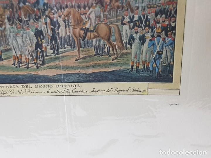 Arte: Espectacular Grabado en plancha de Cobre Coloreado a Mano Infantería del Reino de Italia - Foto 3 - 238830755