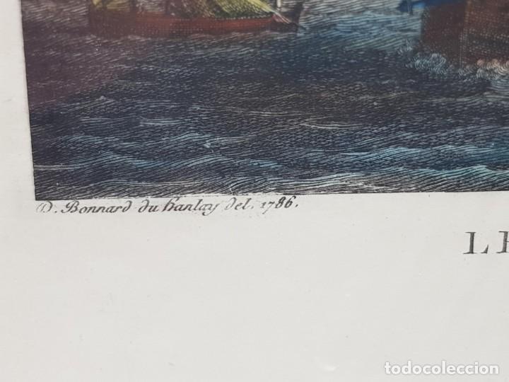 Arte: Espectacular Grabado en plancha de Cobre Frances Coloreado a Mano Le Port Du Croisic - Foto 2 - 238834235