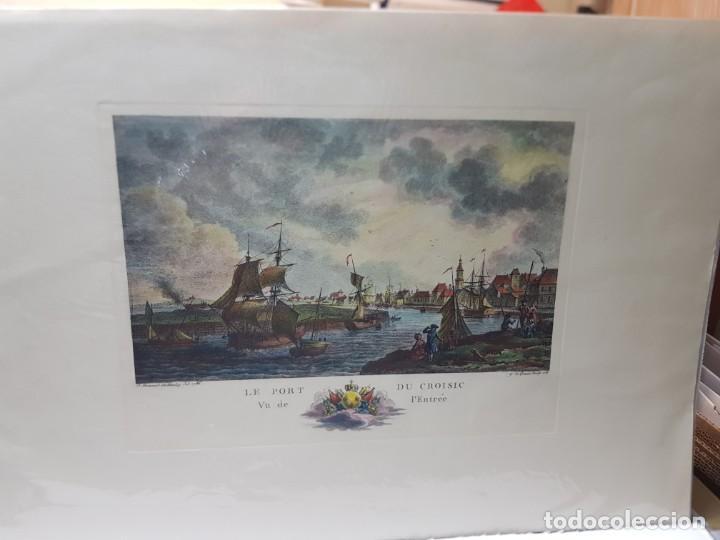 Arte: Espectacular Grabado en plancha de Cobre Frances Coloreado a Mano Le Port Du Croisic - Foto 3 - 238834235