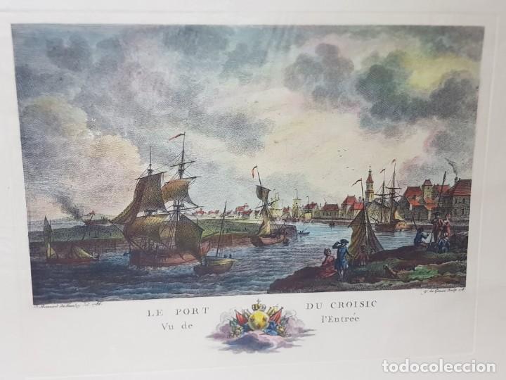 ESPECTACULAR GRABADO EN PLANCHA DE COBRE FRANCES COLOREADO A MANO LE PORT DU CROISIC (Arte - Grabados - Modernos siglo XIX)